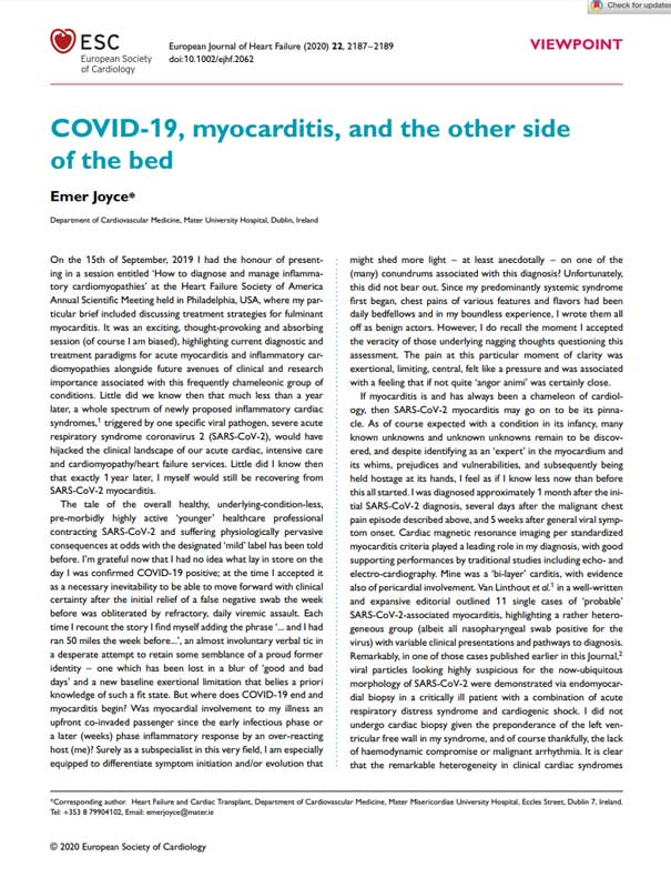 COVID-19 Myocarditis and the other side of the bed